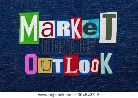 Market Outlook Text Word Collage, Multi Colored Fabric On Blue Denim, Future Market Direction Concep