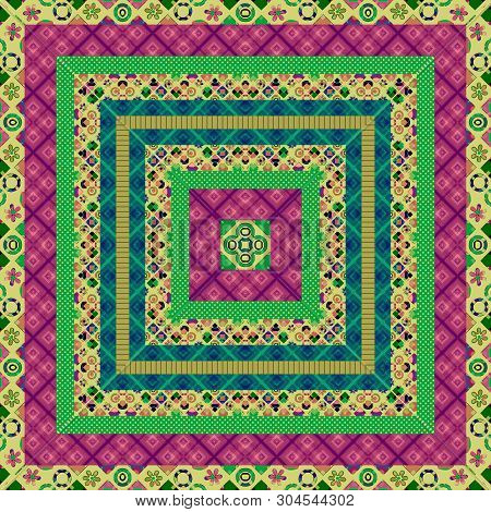 Seamless Patchwork Square Retro Colors Pattern Background