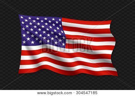 3d Waving Flag Of United States. Vector Illustration