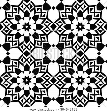 Seamless Geometrical Black White Monochrome Pattern Background