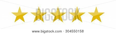 Vector Illustration Of Five Golden Yellow Stars In A Row - Best, Top Quality Concept Graphic Represe