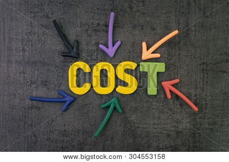 Cost Or Expense Concept, Colorful Arrows Pointing To The Word Cost At The Center On Chalkboard Wall,