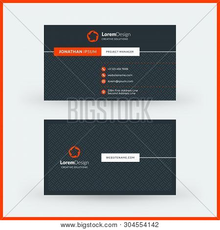 Double-sided Horizontal Modern Business Card Template. Vector Mockup Illustration. Stationery Design