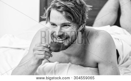 Guy Attractive Appearance Man Enjoy Hot Fresh Brewed Coffee Close Up. First Sip. Every Morning With