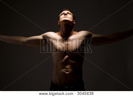 Handsome Topless Arms Wide Open