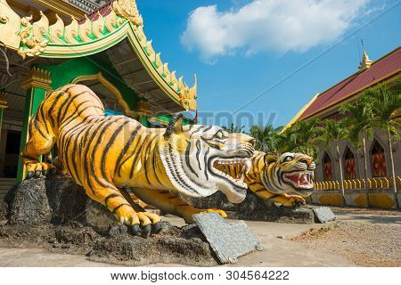 Statues Of Tigers At Buddhist Temple In Thailand