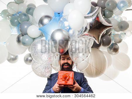 Festive Event Or Birthday Party. People, Joy, Birthday, Celebration. Happy Birthday Guy Holds Helium