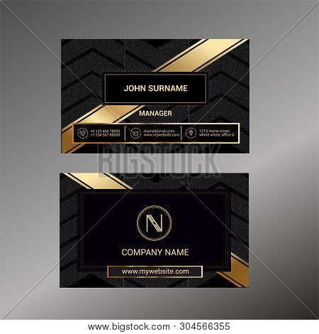 Business Card Template With Black Deluxe Background