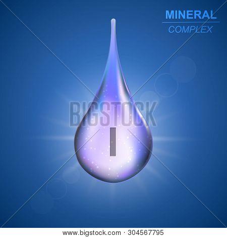 Iodine Mineral Shining Blue Drop Icon .mineral Complex Background