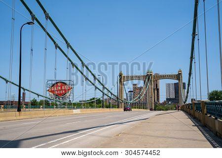 Minneapolis, Mn - June 2, 2019: The Father Louis Hennepin Bridge In Downtown Minneapolis Minnesota
