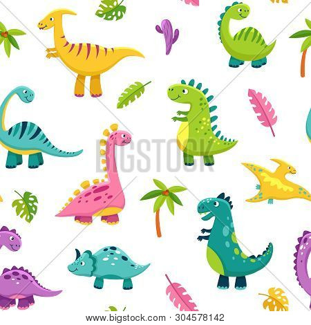 Dinosaur Seamless Pattern. Cartoon Cute Baby Dino Funny Monsters Jurassic Wild Animals Dragon Dinosa