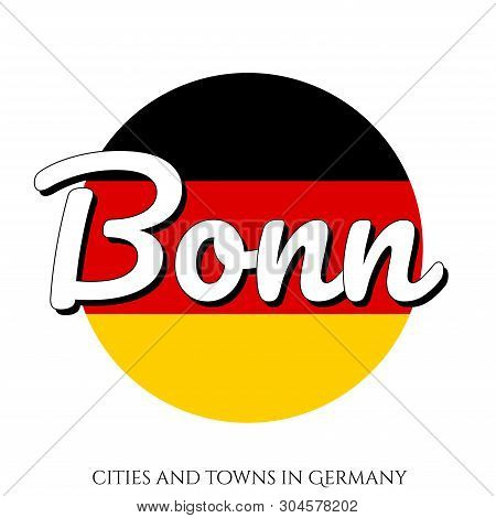Circle Button Icon With National Flag Of Germany With Black, Red And Yellow Colors And Inscription O