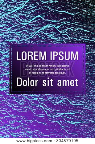 Catalog cover vector template. Proton purple and cyan blue esports texture. Fluid buzzing wavy noise ripple texture. Geometric typography cover. Marketing catalog trendy layout design. poster