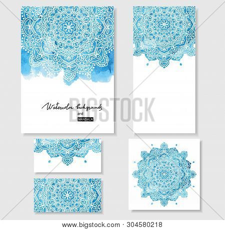Watercolor Paint Background With White Hand Drawn Round Doodles And Mandalas. Backdrop. Hand Drawn D