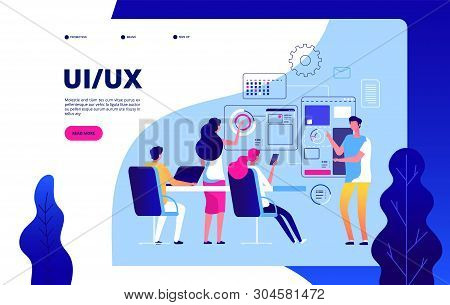 Ui Ux Landing Page. Best User Experience Automation Digital Ui Ux Testing Vector Modern Concept. Ui