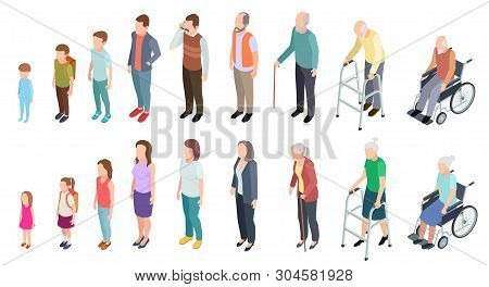 Different Generations. Isometric People Adult Female Male Characters Kids Girl Boy Old Man Woman Hum