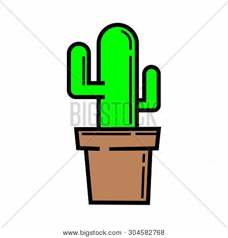 Cactus Icon Vector Isolated On White Background. Cactus Icon Flat, Cactus Icon Image, Cactus Icon Si
