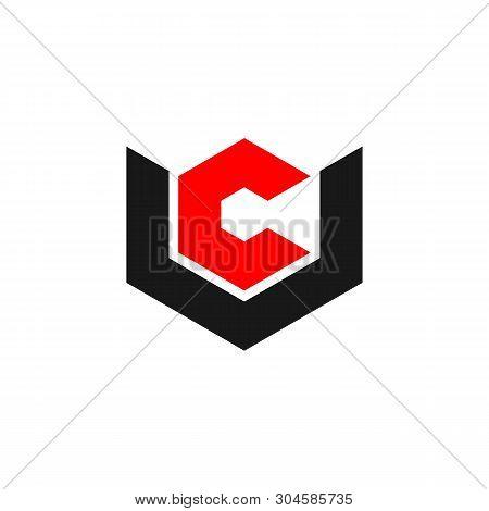 C U Letter Hexagon Shape Logo Template Illustration Design. Vector Eps 10.