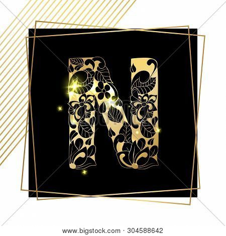 Golden Floral Ornamental Alphabet, Initial Letter N Font With Modern Stylized Frames. Abstract Lines