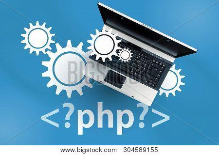 Php Programming Language. Laptop On Php Tag