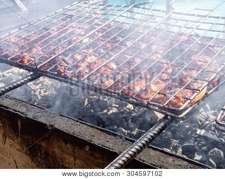 Bar-b-q Or Bbq With Kebab Cooking, Grilling Meat In Park Outdoor - Concept Of Eating Bbq Outdoor Dur