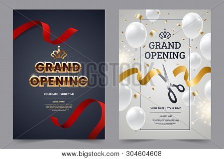 Grand Opening Invitation Flyer With Red And Gold Cut Ribbons And Scissors. Golden Text On Luxury Bac