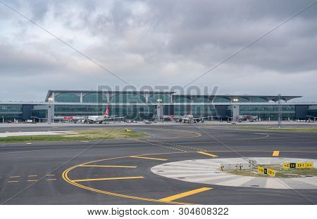 Istanbul, Turkey - 3 May 2019:  Turkish Airlines Planes At The Gates Of New Istanbul Airport Known B
