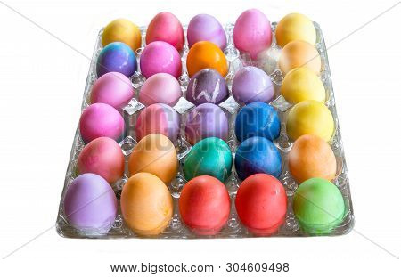Colorful Easter Eggs Against A White Background