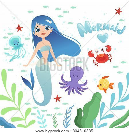 Mermaid Background. Underwater Life With Cartoon Fantasy Mermaid Characters Baby Octopus Girl Vector