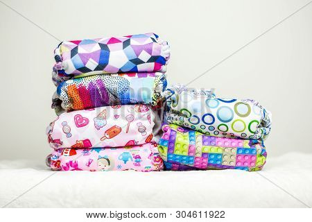 Stacks Of Eco Friendly Washable Textile Diapers.