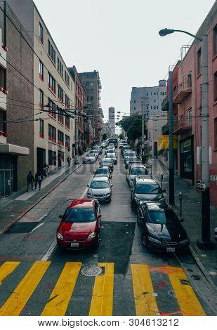 China Town Main Street In San Francisco. Toned Image