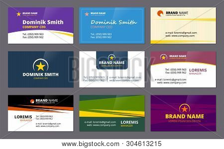 Visit Cards. Business Corporate Identity Elegant Cards Template Company Id Colored Vector Design Tem