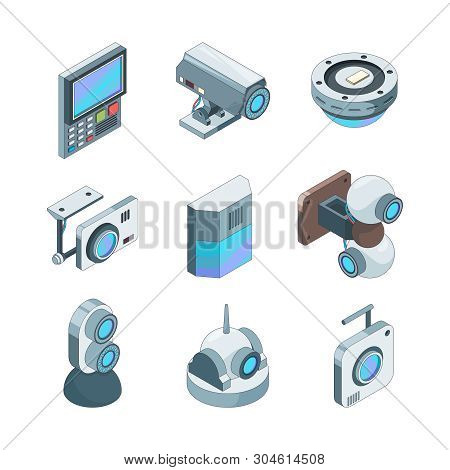 Secure cam isometric. Cctv home security cameras electronic systems vector 3d illustrations. Technology security, video system control poster