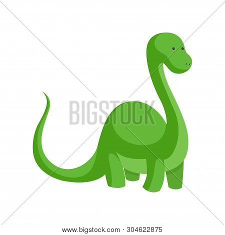 Dinosaur Toy. Green Dinosaur. Silhouette Dinosaur Toy Flat Icon. Vector Illustration. White Backgrou