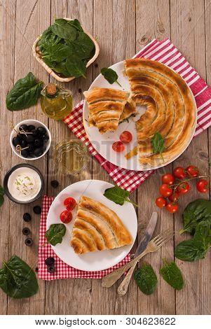 Spanakopita, Greek Spinach Pie With Feta Cheese.