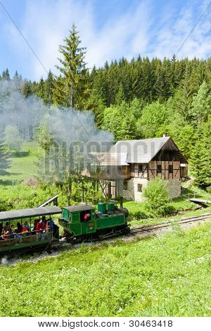 steam train and old saw mill, Museum of Kysuce village, Vychylovka, Slovakia