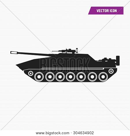 Black Filled Artillery, Military Tank Icon. Isolated On White Background. Vector.