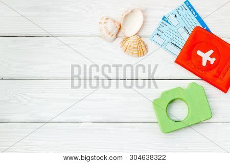 Funny Vocation Concept With Camera, Passport And Tickets On White Wooden Background Top View Space F