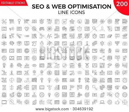 Seo Line Icons Set. Thin Line Icons Set Of Search Engine Optimization, Website And App Design And De