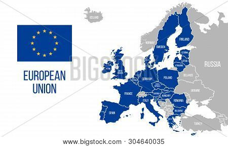 European Union Political Map. Eu Flag. Europe Map Isolated On A White Background. Vector Illustratio