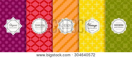 Vector Geometric Seamless Patterns Collection. Set Of Bright Colorful Background Swatches With Elega