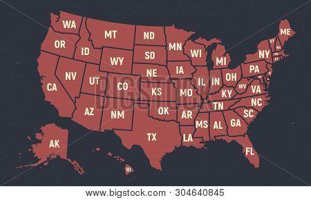 United States Of America Retro Poster Map. Usa Map With Short State Names. Vector Us Map With States
