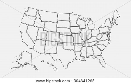 Usa Map Outline. Vector & Photo (Free Trial) | Bigstock