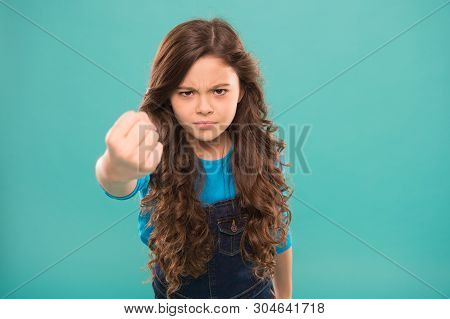 Painful Punch. Serious Child Threatening. Punch You In Face. Stop Bullying Movement. Girl Threatenin