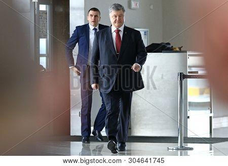 Boryspil, Ukraine - March 23, 2018: President Of Ukraine Petro Poroshenko Comes To The Ryanair Press