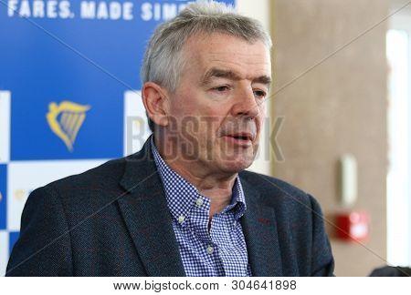 Boryspil, Ukraine - March 23, 2018: Ryanair Chief Executive Officer Michael Oleary Makes A Speech Du