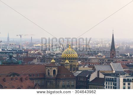 Impressions Of Berlin On A Hazy Day With Synagogue