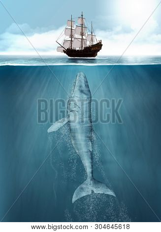 Humpback Whale Attacks A Hunting Whaling Ship From Deep Below, 3d Render Painting