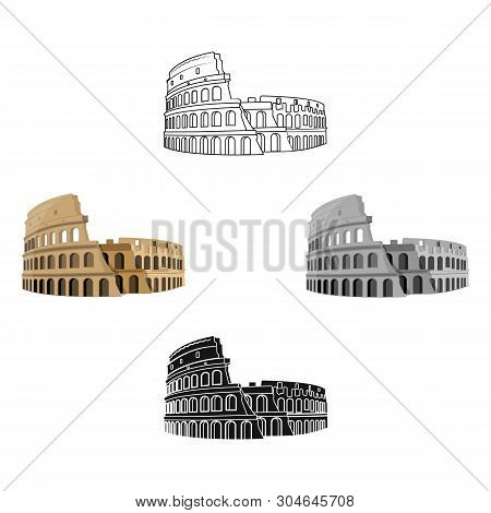 Colosseum In Italy Icon In Cartoon, Black Style Isolated On White Background. Countries Symbol Stock