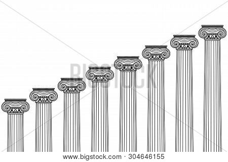 A Series Of Greek, Antique, Historical Colonnades With Ionian Capitals And A Place For Text On A Whi